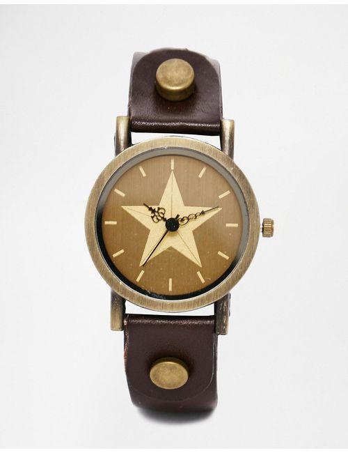 Reclaimed Vintage | Мужские Коричневые Часы Со Звездой И Коричневым Кожаным Ремешком
