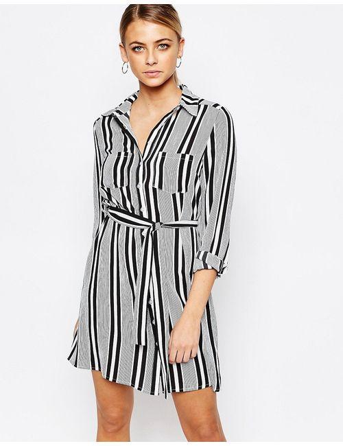 boohoo | Чёрное Полосатое Платье-Рубашка С Завязывающимся Поясом