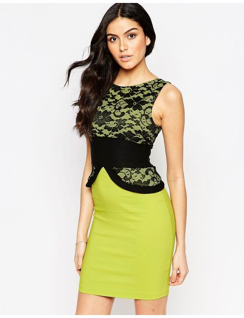 Vesper | Женское Лайм Платье-Футляр С Кружевным Топом Ronnie Лайм