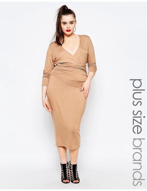 Missguided Plus | Платье-Футляр C Запахом Спереди Телесный