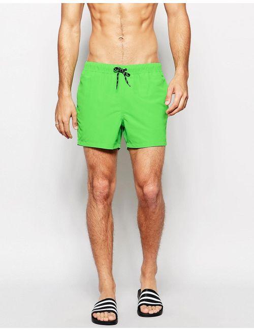 Asos | Мужские Зелёные Неоново-Зеленые Короткие Шорты Для Плавания Неоновый Зеленый