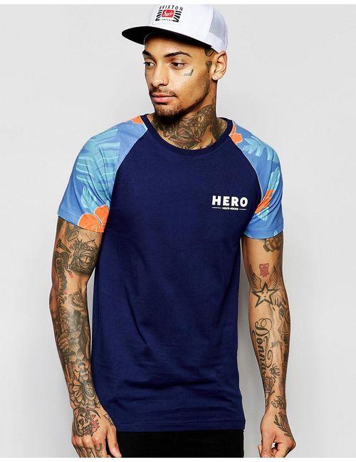 Heros Heroine | Мужская Синяя Футболка С Рукавами Реглан И Цветочным Принтом