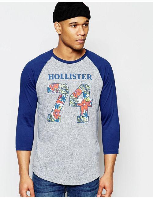 Hollister | Мужская Серая Бейсбольная Футболка С Длинным Рукавом И Принтом