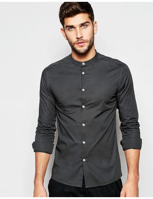 Asos | Мужская Угольная Темно-Серая Рубашка Скинни С Воротником На Пуговицах