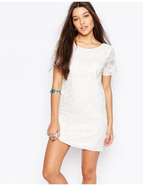 Abercrombie and Fitch | Женское Белое Цельнокройное Платье С Вышивкой И Кружевом Abercrombie