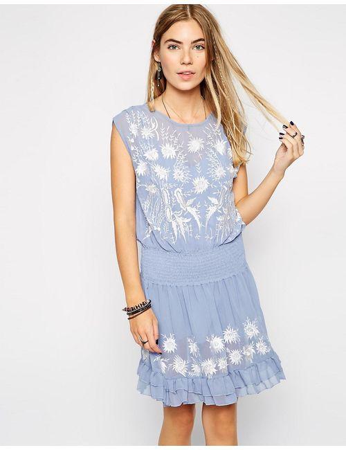 Free People | Женское Синее Платье Garden Bloom