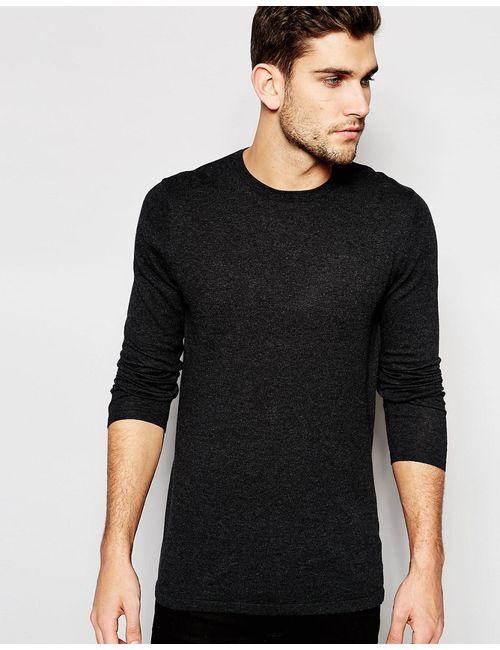 Asos | Серый Удлиненный Хлопковый Джемпер С Круглым Вырезом Темно-Серый/Крученая