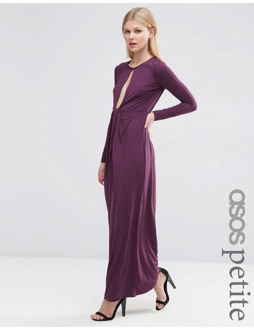 ASOS PETITE | Женское Платье Макси С Глубоким Вырезом Wine