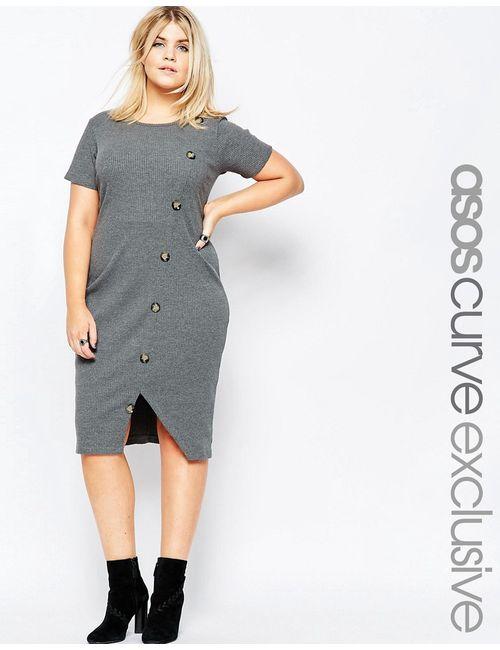 ASOS CURVE | Женское Угольное Облегающее Платье В Рубчик С Пуговицами Спереди