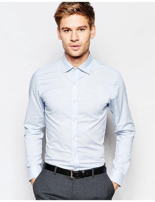 Selected Homme | Мужская Голуба Облегающая Эластичная Рубашка Светло-Голубой
