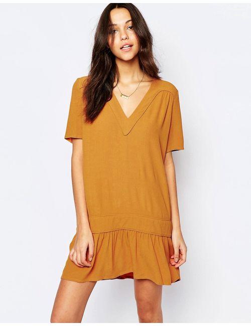 Ba&Sh   Женское Шафран Платье С Заниженной Талией И Vобразным Вырезом