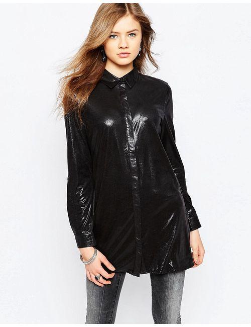 Noisy May | Женская Чёрная Рубашка С Длинными Рукавами Walker