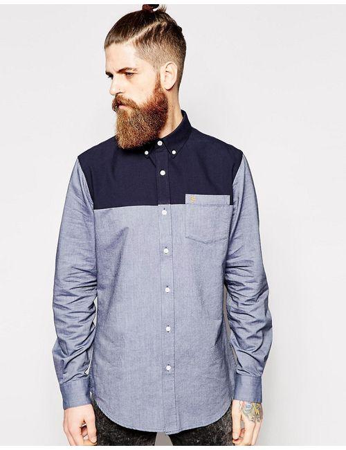 Farah   Мужская Синяя Рубашка Зауженного Кроя С Контрастной Вставкой Темно-Синий