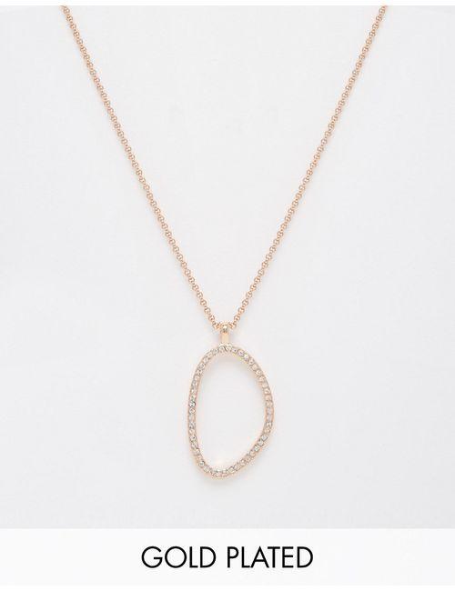 Pilgrim   Женское Розовое Золотое Ожерелье Цвета Розового Золота С Блестящей Подвеской