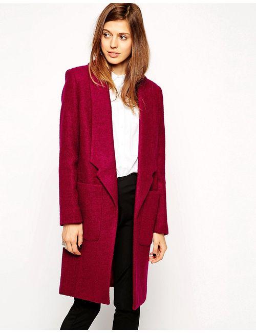 Asos | Женское Ягодное Фактурное Шерстяное Пальто С Заниженным Воротом