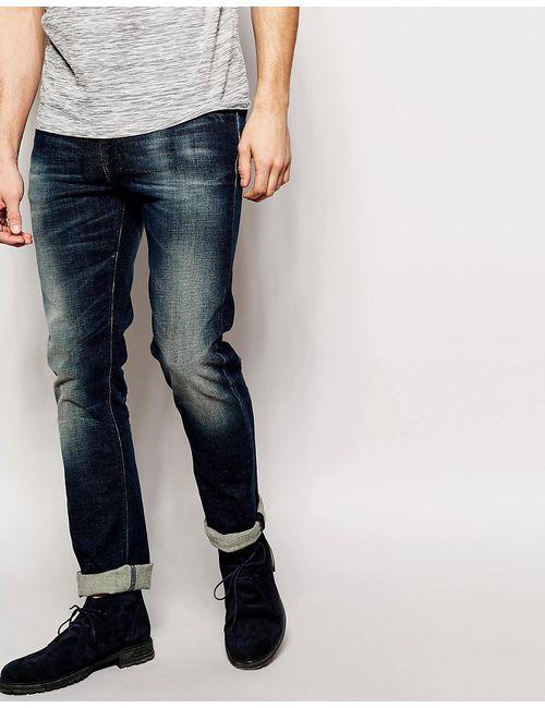 Nudie Jeans Co | Синие Темно-Синие Стретчевые Джинсы Скинни С Эффектом Поношенности