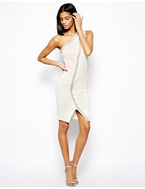 Asos | Женское Кремовое Облегающее Платье С Отделкой Жемчугом Кремовый