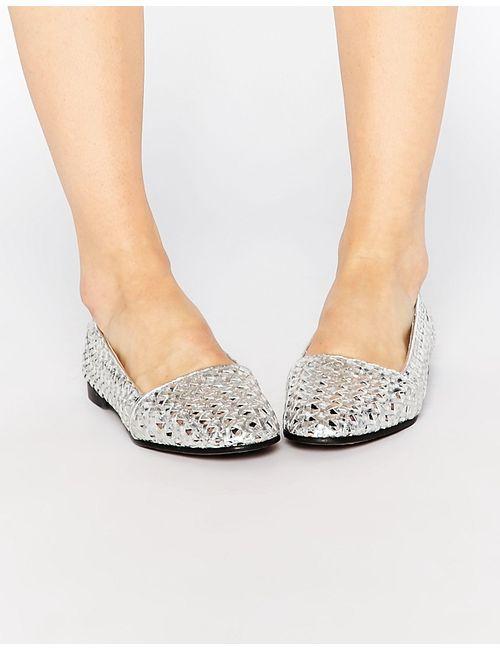Hudson London | Женские Серебряные Кожаные Серебристые Туфли На Плоской Подошве Coco