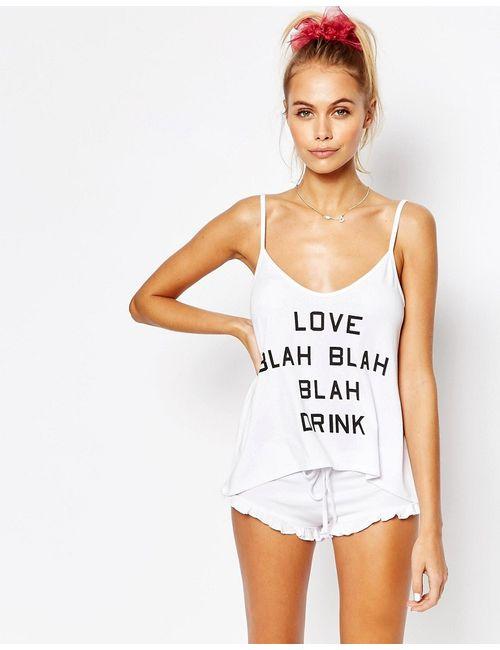 Wildfox   Женский Белый Пижамный Комплект Blah Blah