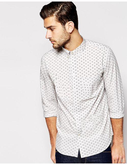 Paul Smith Jeans | Мужская Серая Рубашка Узкого Кроя С Принтом Серый