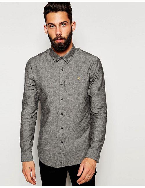 Farah | Мужская Экрящая Черная Оксфордская Рубашка Зауженного Кроя
