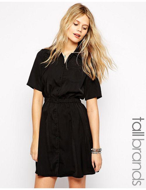 Glamorous Tall | Чёрное Платье-Рубашка