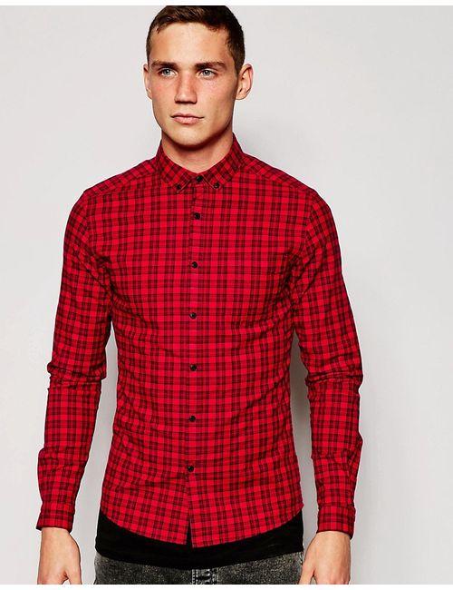 Asos | Мужская Красная Зауженная Рубашка В Клетку С Длинными Рукавами