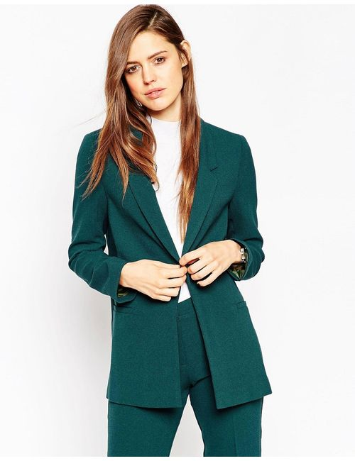 Asos | Зелёный Пиджак Зауженного Кроя Из Крепа