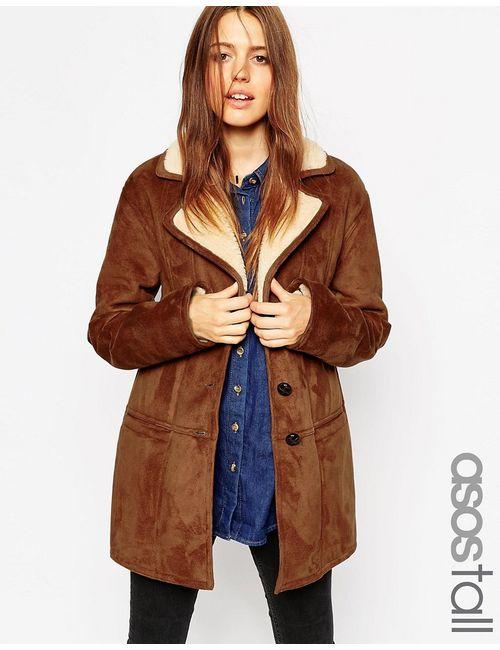 ASOS TALL | Мужское Пальто Из Искусственной Овечьей Шерсти Со Вставками