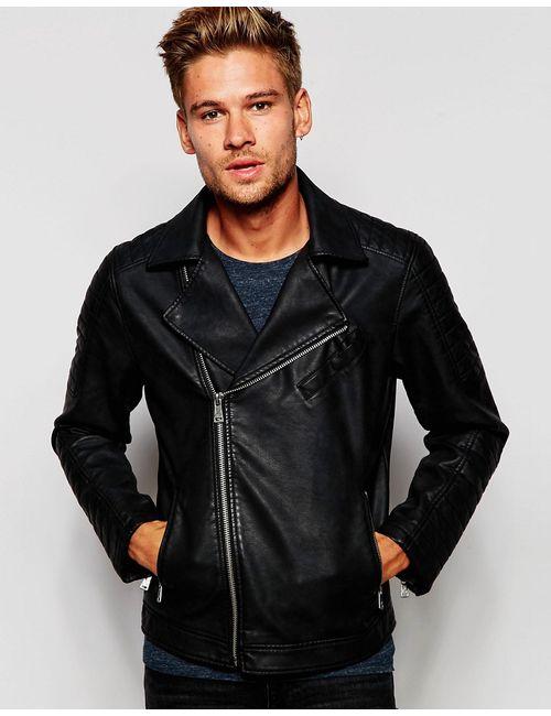 Esprit | Мужская Чёрная Байкерская Куртка Из Кожзаменителя Черный