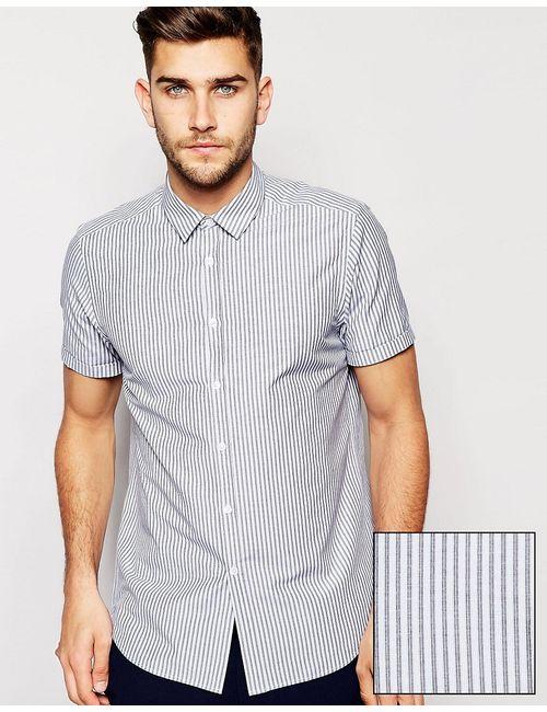 Asos   Мужская Многоцветная Строгая Рубашка В Тонкую Полоску С Короткими