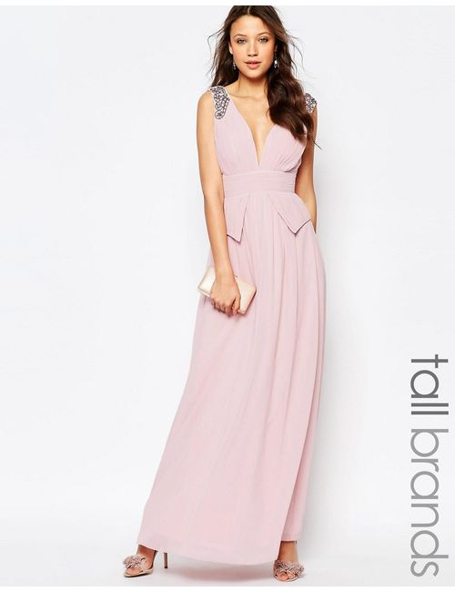Little Mistress Tall | Женское Розовое Платье Макси С Баской На Талии Глубоким