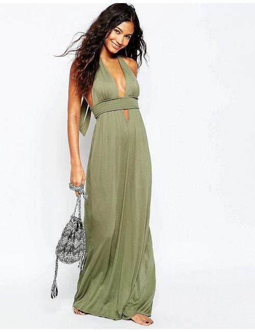 Asos | Женское Хаки Пляжное Платье Макси С Завязкой На Шее