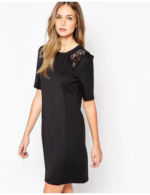 Selected | Женское Чёрное Платье С Кружевными Вставками На Плечах