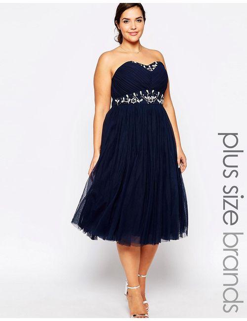 Lovedrobe | Синее Платье-Бандо Для Выпускного С Отделкой На Талии
