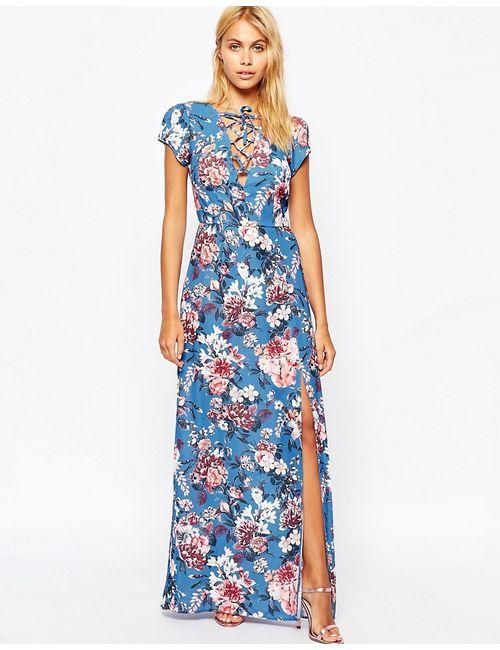 Love | Женское Синее Платье Макси С Глубоким Вырезом Завязками Спереди