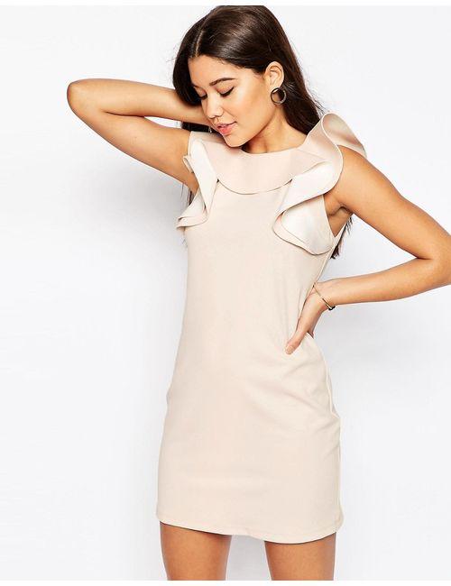 Asos | Женское Цельнокройное Платье С Оборкой На Горловине Телесный