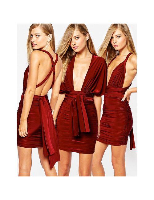 MISSGUIDED | Burgundy Облегающее Платье Мини В Стиле Трансформер
