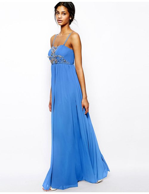 Asos | Синее Платье Макси В Стиле Бандо С Декоративной