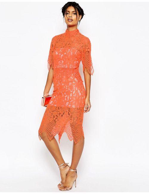 Asos | Оранжевое Платье Миди С Укороченным Кружевным Топом И
