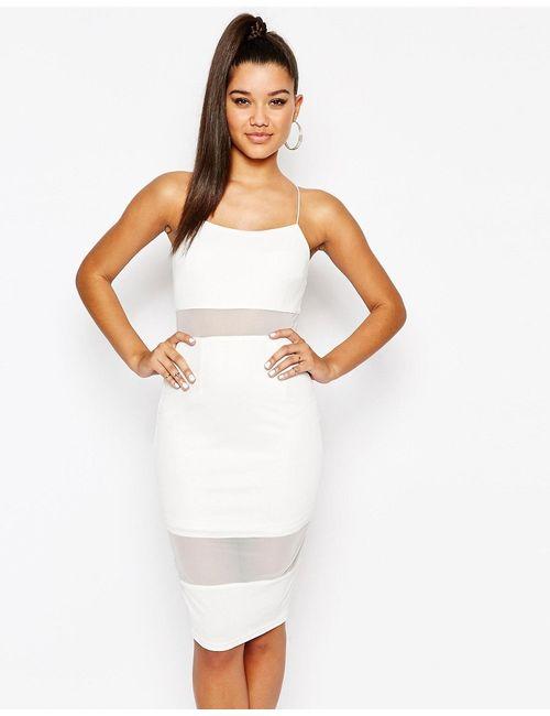 NaaNaa | Женское Белое Платье На Тонких Бретельках С Сетчатой Вставкой