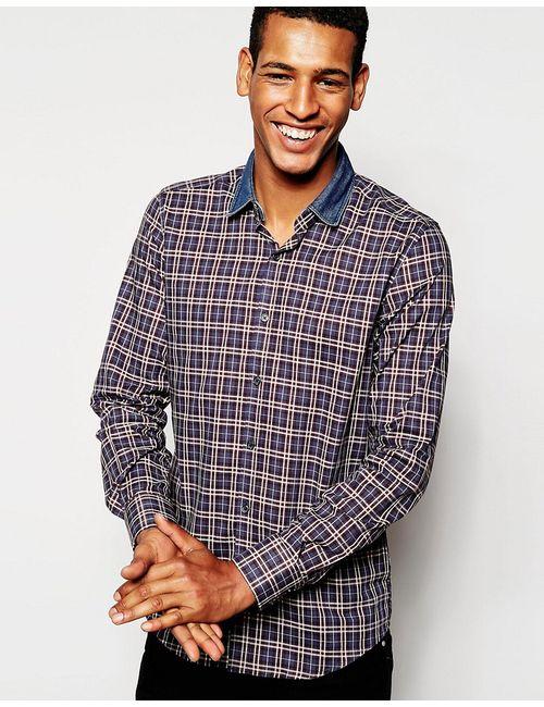 Antony Morato | Мужская Burgundy Классическая Рубашка В Клетку С Джинсовым Воротником