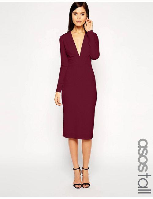 ASOS TALL | Женское Wine Платье Миди Из Фактурного Крепа С Глубоким