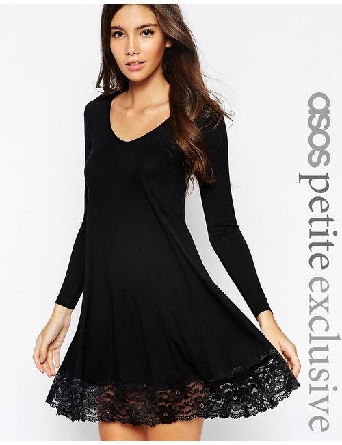 ASOS PETITE | Женское Чёрное Свободное Платье С Кружевной Отделкой