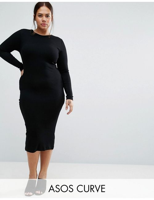 ASOS CURVE | Женское Чёрное Облегающее Платье Миди Черный