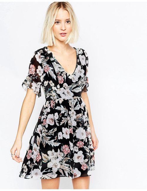 Daisy Street | Женское Чёрное Платье С Запахом Рукавом-Бабочкой И Цветочным Принтом