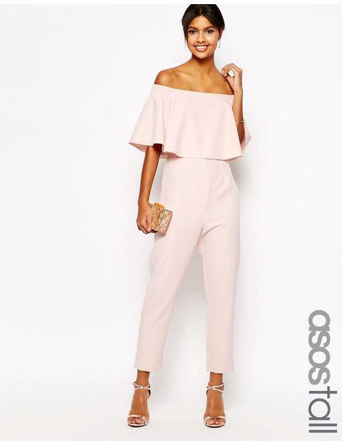 ASOS TALL | Женский Розовый Комбинезон С Открытыми Плечами И Оборками