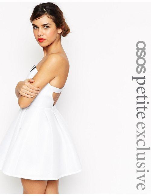 ASOS PETITE   Белое Платье-Бандо С Вышивкой