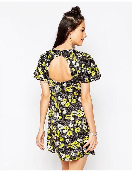 Motel | Женское Жёлтое Платье С Открытой Спиной И Желтым Принтом