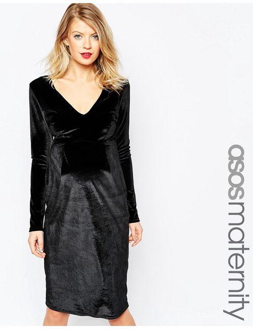 ASOS Maternity | Черный Бархатное Платье-Футляр С V-Образным Вырезом Черный